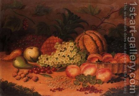 Still Life Of Fruit With Peaches In A Basket by (after) William Jones Of Bath - Reproduction Oil Painting