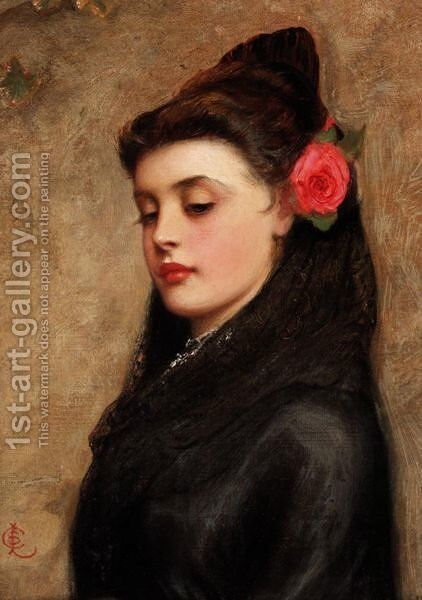 Portrait Of A Girl With A Rose In Her Hair by Charles Sillem Lidderdale - Reproduction Oil Painting