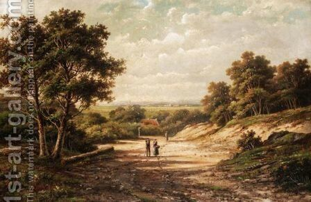 Figures On A Country Road by Hendrik Barend Koekkoek - Reproduction Oil Painting