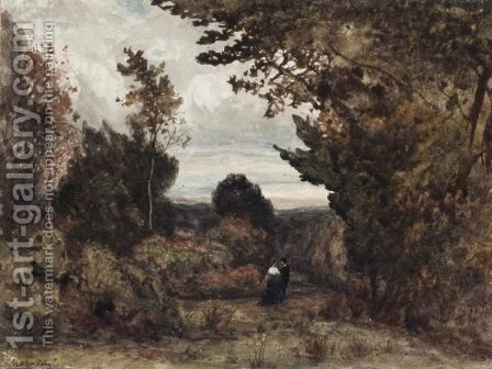 Figures In A Woodland by Henri-Joseph Harpignies - Reproduction Oil Painting