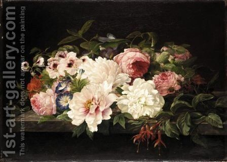 Still Life Of Flowers On A Marble Ledge by (after) Theude Gronland - Reproduction Oil Painting