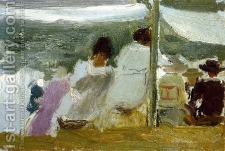 Figuras Bajo Los Toldos, San Sebastian (In The Shade, San Sebastian) by Joaquin Sorolla y Bastida - Reproduction Oil Painting