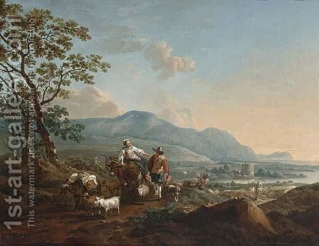 An Extensive River Landscape With Shepherds Driving Their Herd In The Foreground by (after) Nicolaes Berchem - Reproduction Oil Painting