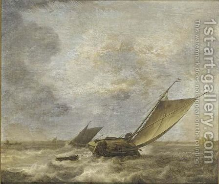 Shipping In A Stiff Breeze by Jan Porcellis - Reproduction Oil Painting