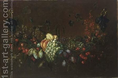 Still Life Of Grapes, Currants, Peaches, Pears And Plums by (after) Adriaen Van Utrecht - Reproduction Oil Painting