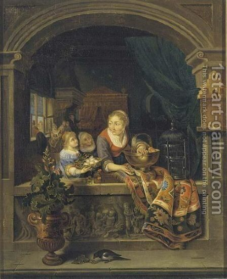 A Woman Standing In A Stone Niche, Holding A Copper Bowl With Peaches by (after) Gerrit Dou - Reproduction Oil Painting
