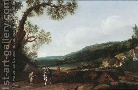 An Extensive Hilly Landscape With Travellers And A Horseman On A Path by (after) Esaias Van De Velde - Reproduction Oil Painting