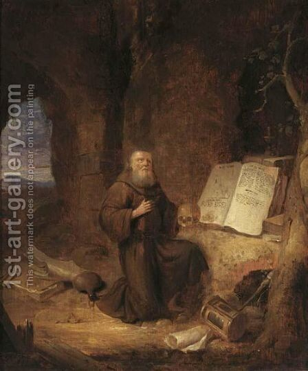A Penitent Hermit In A Grotto by Jacob van Spreeuwen - Reproduction Oil Painting