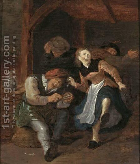 A Merry Company In An Interior Singing And Dancing by Jan Miense Molenaer - Reproduction Oil Painting