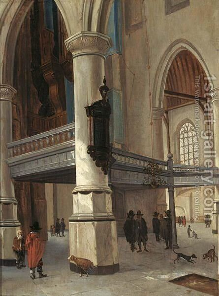 A Church Interior With Figures And Dogs by (after) Hendrick Van Vliet - Reproduction Oil Painting