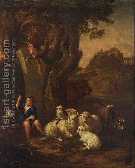 A Young Shepherd With His Herd And A Macaw Resting Near A Tree In An Arcadian Landscape by (after) Jan Baptist Weenix - Reproduction Oil Painting