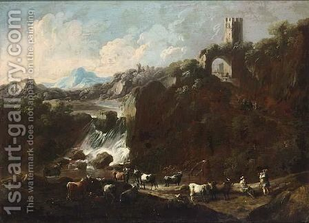 An Italianate Rocky River Landscape With A Waterfall And Cowherds With Their Herd by Cajetan Roos - Reproduction Oil Painting