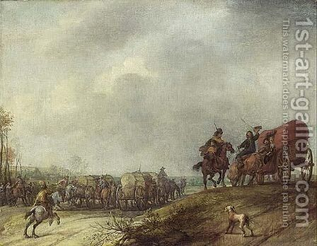 A Landscape With Cavalry And Horse-Drawn Wagons, A Dog In The Foreground by (after) Pieter Snayers - Reproduction Oil Painting