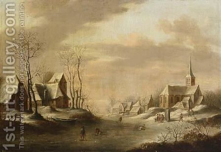 A Winter Landscape With Skaters On The Ice, A Church Beyond by Dutch School - Reproduction Oil Painting