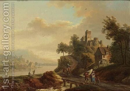 A River Landscape With Travellers On A Path, A Castle On A Mountain Beyond by (after) Christian Georg II Schutz Or Schuz - Reproduction Oil Painting