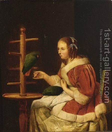 A Woman In A Red Jacket, Feeding A Parrot by (after) Frans Van Mieris - Reproduction Oil Painting