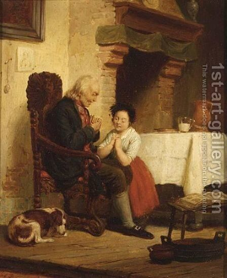 Praying by Dutch School - Reproduction Oil Painting