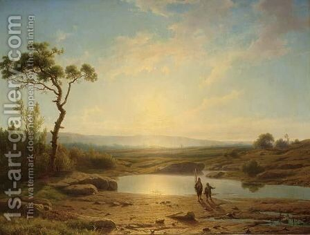 Fishermen In A Landscape by Cornelis Lieste - Reproduction Oil Painting