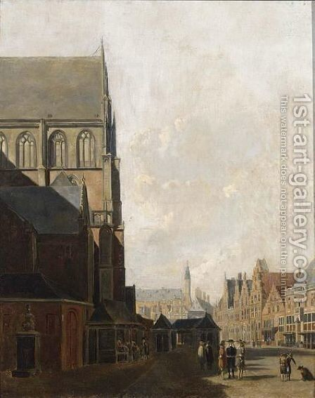 A View Of The St. Bavo, Haarlem by Carel Jacobus Behr - Reproduction Oil Painting