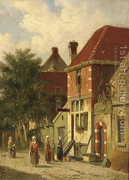 Villagers In A Sunlit Street Of A Dutch Town by Adrianus Eversen - Reproduction Oil Painting