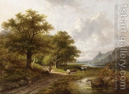 Peasants With Their Cattle In A Wooded Riverlandscape by Jan Evert Morel - Reproduction Oil Painting