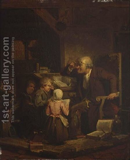 Classroom With Teacher And Children by Dutch School - Reproduction Oil Painting
