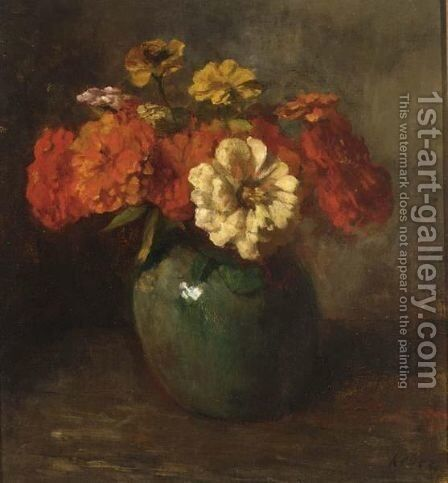 A Flower Still Life by Jacob Simon Hendrik Kever - Reproduction Oil Painting