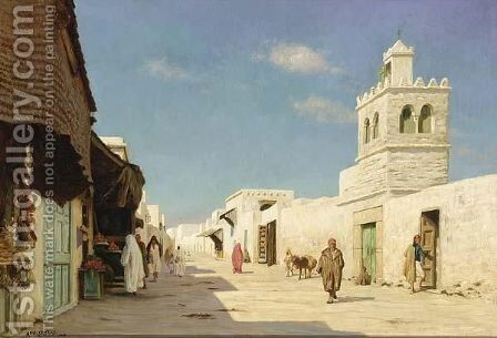 Peasants In A Tunisian Town by August Le Gras - Reproduction Oil Painting