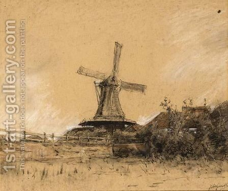 A View Of A Farm And Windmill by Jan Hillebrand Wijsmuller - Reproduction Oil Painting