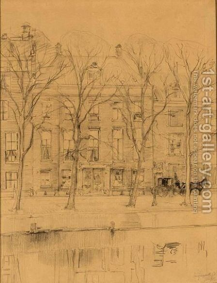 A View Of The Keizersgracht by Jan Hillebrand Wijsmuller - Reproduction Oil Painting