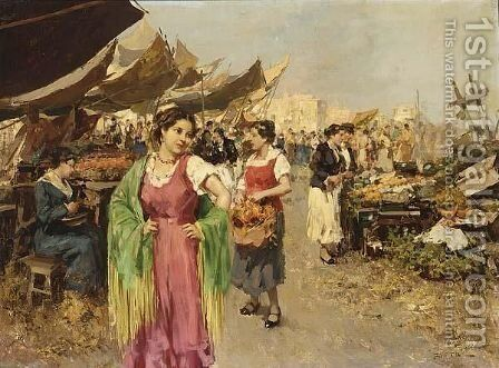 A Vegetable Market In An Italian City by Giovanni Battista Pittoni the younger - Reproduction Oil Painting