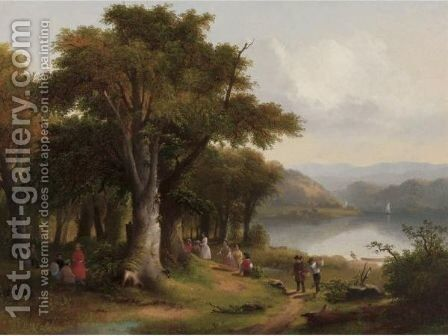 Picnic On The Hudson 2 by James McDougal Hart - Reproduction Oil Painting