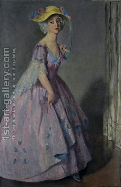 Portrait Of A Lady In Mauve by Bernhard Gutmann - Reproduction Oil Painting