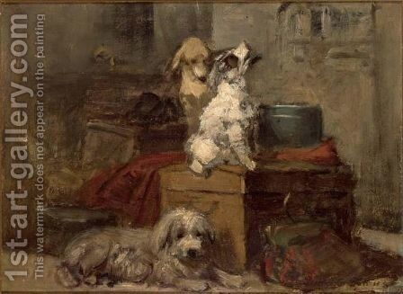 A Study Of  Three Dogs by Henriette Ronner-Knip - Reproduction Oil Painting
