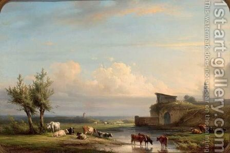 Cattle Watering In An Extensive River Landscape by Jan Jacob Fels - Reproduction Oil Painting