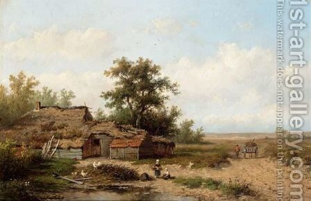 A Peasant With His Cattle In A Polder Landscape by Anthonie Jacobus Van Wijngaerdt - Reproduction Oil Painting