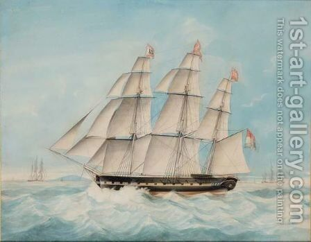 A Dutch Three-Master At Sea by Jacob Spin - Reproduction Oil Painting