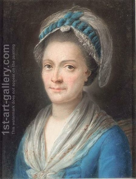 A Portrait Of A Lady Wearing A White Hat And Blue Ribbons by Continental School - Reproduction Oil Painting