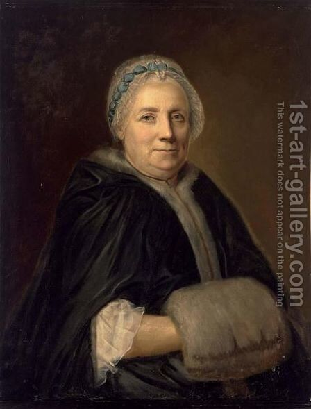 A Portrait Of An Elderly Lady, Seated Half Lenght, Wearing A Dark Blue Coat With Fur Cufss And Collar by French School - Reproduction Oil Painting