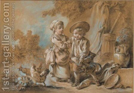 A Pastoral Scene by Jean-Baptiste Huet - Reproduction Oil Painting