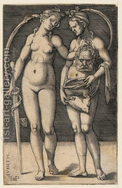 Judith And Her Servant Standing by Hans Sebald Beham - Reproduction Oil Painting