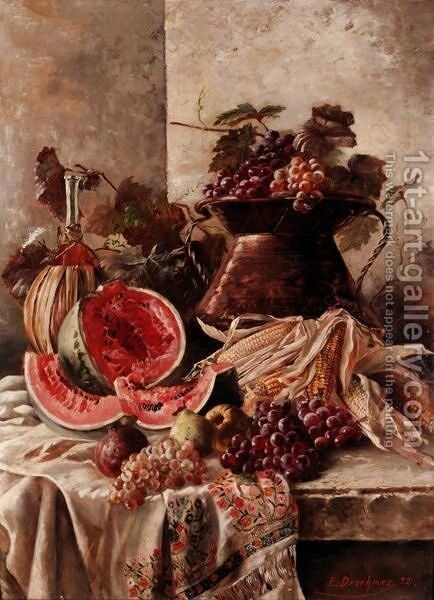 Still Life With Watermelon by E. Droehmer - Reproduction Oil Painting