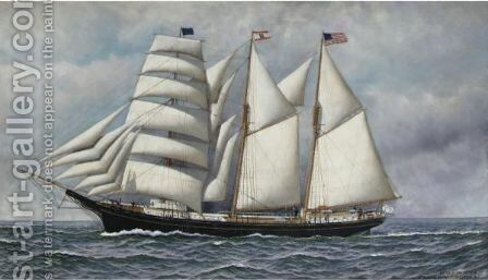 Portrait Of The Barkentine 'Mannie Swan' by Antonio Jacobsen - Reproduction Oil Painting