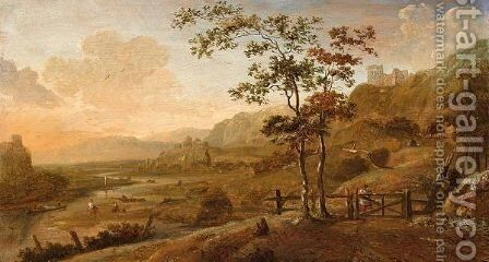 A River Landscape With A Figure Near A Fence And Fishermen Unloading The Catch, A Ruin In The Background by Dionys Verburgh - Reproduction Oil Painting