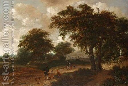 A Wooded Landscape With Travellers Resting With Their Dogs by (after) Roelof Van Vries - Reproduction Oil Painting