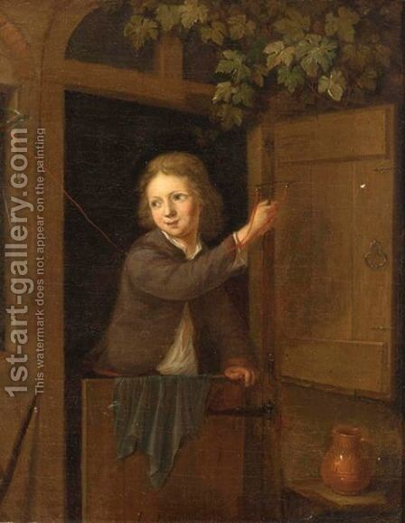 A Finch On A Fowling-Line Held By A Boy Standing In A Doorway by Arnold Houbraken - Reproduction Oil Painting