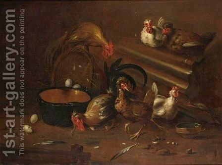 A Cockerel And Chickens In A Shed With An Earthenware Bowl And Baskets With Eggs by (after) Baldassare De Caro - Reproduction Oil Painting