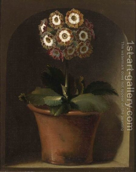 An Auricula In A Pot In A Niche by (after) Gerard Van Spaendonck - Reproduction Oil Painting
