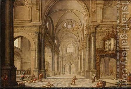 A Church Interior With Christ Driving The Moneychangers From The Temple by Hans Juriaensz. Van Baden - Reproduction Oil Painting