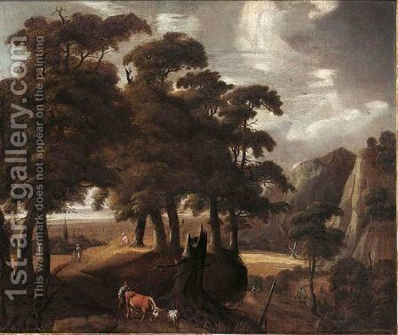 A Wooded Landscape With A Peasant And His Herd Together With Other Travellers On A Path, A Village In The Background by (after) Jaques D'Arthois - Reproduction Oil Painting